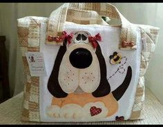 Bolsos Dog Quilts, Cat Quilt, Fabric Handbags, Fabric Bags, Patchwork Bags, Quilted Bag, Messenger Bag Patterns, Chicken Quilt, Animal Bag