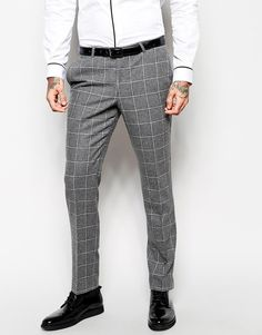 $118, Grey Check Wool Dress Pants: Noose Monkey Noose Monkey Check Suit Pants In Skinny Fit. Sold by Asos. Click for more info: http://lookastic.com/men/shop_items/159730/redirect