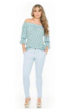 Blusa cuello de bandeja Off Shoulder Blouse, White Jeans, Tops, Women, Fashion, Fashion Blouses, Men, Moda, Women's