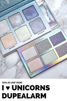 Ein Vergleich der  Rival de Loop Young I ♥ Unicorns Rainbow Shimmer Eyeshadow Palette mit dem Anastasia Beverly Hills Moonchild Glowkit. Ob die Drogerie-Palette wirklich ein Dupe ist, erfahrt Ihr hier.