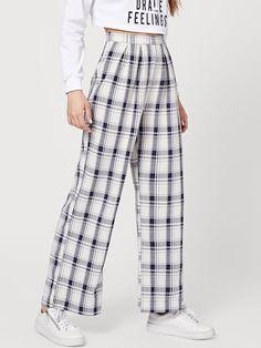 Shop Tartan Plaid Wide Leg Pants at ROMWE, discover more fashion styles online. Tartan Pants, Tartan Plaid, Satin Pyjama Set, Pajama Set, Plaid Outfits, Fashion Outfits, Summer Dresses For Women, Ladies Dresses, Dress Summer
