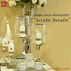 Whether it's a smart set of candle stand or a stylish hurricane, acrylic accents and accessories are this year's clear favourite for adding a gleaming finish to a space. Shop these clear home decor accessories to be updated with today's trend! Now available online. #SHOPNOW at www.elvy.com #STAYTUNED for more trend updates!
