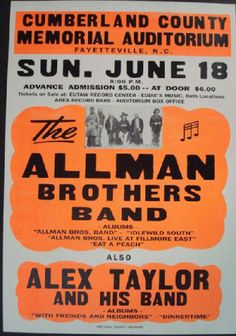 Reprint letterpress concert poster for The Allman Brothers Band in Fayetteville, NC 1972. 22x32 inches on cardboard. Poster is replicated from the original show poster using the original letter presses, inks, and card stock that were originally produced.