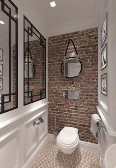 "10 ""Exposed Brick Tiles"" Bathroom Design Ideas Brick wall tiles can introduce a distinct heat to a washrooms interior. Small Toilet Room, Home, Bathroom Tile Designs, Brick Tiles Bathroom, Bathroom Interior, Bathrooms Remodel, Brick Bathroom, Bathroom Design, Toilet Design"