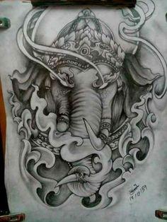 วิม Ganesh Tattoo, Hindu Tattoos, Buddha Tattoos, Asian Tattoos, Tattoo Sketches, Tattoo Drawings, Sleeve Tattoos, Arm Tattoos, Arm Elephant Tattoo