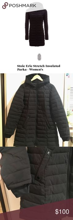 Women's down parka jacket Very warm, lightweight woman's parka jacket. Stoic brand, I got it off of backcountry.com I only wore it twice, it kept me very warm in Paris in January! Size small although runs a little big. Color: black stoic Jackets & Coats