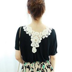 Crochet Trim-Back Short-Sleeve Top from #YesStyle <3 Dodostyle YesStyle.com