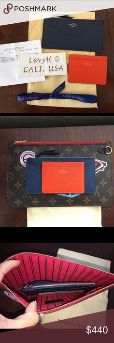 Authentic Louis Vuitton Wallet Inserts Authentic Louis Vuitton Jeanne Wallet Coin Pouch and card case inserts. Brand new, no flaws to mention! Will fit in the Neverfull Pouch as seen on pics. Will ship with copy of receipt and dustbag. Price is firm and no trade. Louis Vuitton Bags Wallets