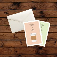 Printed on premium stock.  Thanks a Latte! Thank You Cards Set Includes:  • 12 (4 x 6) Folded Thanks a Latte! Thank you Cards - blank inside • 15