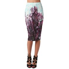 Midi Pencil Skirt In Photo Print