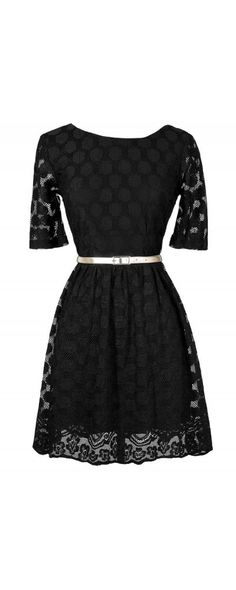 Circle Lace Belted Black A-Line Dress  www.lilyboutique.com
