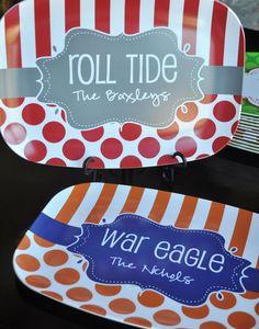 Personalized Platter for Game Day or Tailgating Auburn Alabama Georgia LSU TN FL. $42.00, via Etsy.