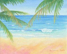 """Beach painting: """"Beach Palms"""". Open edition giclee prints available in two sizes on paper or canvas, starting at $35.00. Original 8""""x10"""" painting also available. © 2012 Barbara Blair. See more of my art at BarbaraBlairArt.com"""