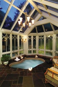 Renaissance Conservatories performs custom conservatory hot tub spa enclosure design and manufacturing. Our custom hot tub rooms will be designed for the architecture of your home Indoor Jacuzzi, Indoor Swimming Pools, Swimming Pool Designs, Indoor Hot Tubs, Jacuzzi Room, Orangerie Extension, Ideas De Piscina, Hot Tub Room, Piscina Interior