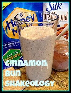 Favorite Shakeology Recipe - just blend vanilla Shakeology, almond milk, cinnamon, graham cracker, water and ice. Click for recipe.