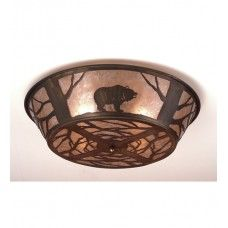 """Ceiling Fixtures : 22"""" Wide Grizzly Bear On The Loose Flush Mount - #10011"""