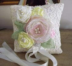 Wedding Ring Bearer Pillow  Hand Dyed Venice Lace