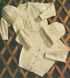 Childrens Aran Cardigan and Hat PDF Knitting Pattern : Boys or Girls 24, 26, 28 and 30 inch chest . 2 Design . Digital Download by PDFKnittingCrochet on Etsy