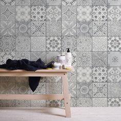tiles Moroccan Moroccan/Croatian Style Tile Effect Wallpaper Grey Kitchen Wallpaper, Dining Room Wallpaper, Tile Wallpaper, Grey Wallpaper, Morrocan Tiles Kitchen, Moroccan Tile Bathroom, Moroccan Tiles, Patterned Kitchen Tiles, Grey Kitchen Wall Tiles