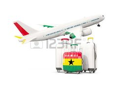 Luggage with flag of Ghana. Three bags with airplane isolated on white. 3D illustration photo