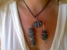 Unique graphite color necklace