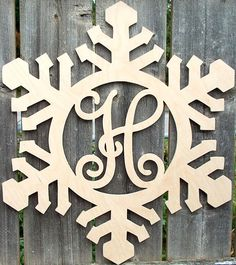 Wooden Initials, Wooden Monogram, Monogram Signs, Plasma Cutter Art, Christmas Ideas, Christmas Decorations, Seasonal Decor, Holiday Decor, Wooden Snowflakes