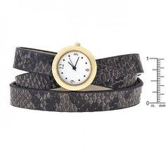 Grey Snakeskin Wrap Watch