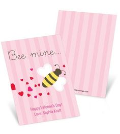 Bee mine, Valentine! Pink stripes, a cute little bee and a trail of hearts, what more could you ask for on Valentine's Day cards for kids?