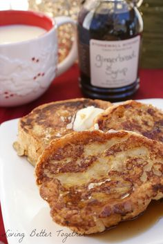 Eggnog French Toast with Gingerbread Syrup by Living Better Together. Fragrant and delicious, the perfect combination of holiday flavors! Soft Eggnog French Toast topped with butter and Stonewall Kitchen's Gingerbread Syrup. Perfect for Christmas morning. What's For Breakfast, Christmas Breakfast, Breakfast Dishes, Breakfast Recipes, Christmas Morning, Morning Breakfast, Breakfast Casserole, Tostadas, Brunch