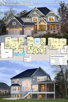 Architectural Designs Exclusive Craftsman House Plan gives you a great room and 4 beds upstairs with a in the optional finished lower level. Over 3600 square feet of heated living space plus that lower level. House Plans 2 Story, Craftsman House Plans, Dream House Plans, House Floor Plans, House Design Plans, Dream Houses, The Plan, How To Plan, Layouts Casa