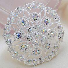 Fashion Silver Round Flower Rhinestone Women Wedding Brooch Pins[US$2.08]
