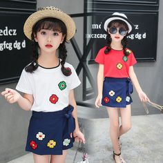 cdf4ba9f094a Girls clothing sets summer 2017 new fashion style two-piece children s  shorts short sleeve sets 5 6 7 8 9 10 years old pullovers