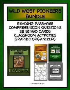 THIS BUNDLES PRODUCT INCLUDES READING PASSAGES, COMPREHENSION QUESTIONS, TEACHER'S KEY, CLASSROOM ACTIVITIES, BINGO CARDS AND CLUES, AND NON-FICTION GRAPHIC ORGANIZERS.  Perfect for SUBSTITUTE TEACHERS, enrichment learning, homeschool or co-ops!  Includes eight pages of informational text about the topic:  Early American Pioneers.  Grades 4-7 and Homeschool.  72 pages.  $9.00