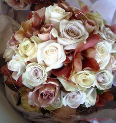 BG126 Mushroom `Creme de Menthe` roses, cream `Vendella` roses, `Sahara` roses, latte `Julia` roses and brown vanda orchid