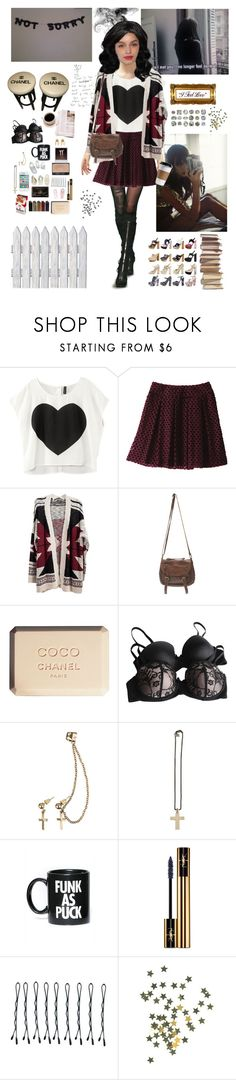 """""""Aria M."""" by mademoisellegabriellecoco ❤ liked on Polyvore featuring Uniqlo, Wet Seal, Chanel, Forever 21, Club Manhattan, Maria Francesca Pepe, NARS Cosmetics, Dreamgirl, Glamour Kills and Yves Saint Laurent"""