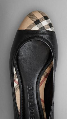 Check Detail Nappa Leather Ballerinas | Burberry