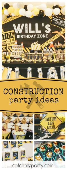 Check out this awesome Construction birthday party! The dessert table is fantastic!! See more party ideas and share yours at CatchMyParty.com