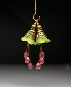 Vintage style bead dangles with green lucite flowers by dewdropvintage