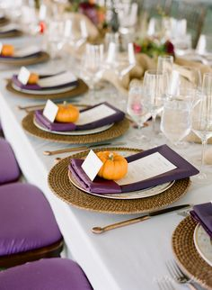 14 More Stylish Ways To Add Purple To Your Fall Wedding: A fall table setting with purple napkins, menus and chairs, pumpkins for card holders Orange Wedding, Fall Wedding, Wedding Colors, Wedding Reception, Our Wedding, Burgendy Wedding, Rustic Wedding, Wedding Stuff, Pumpkin Wedding