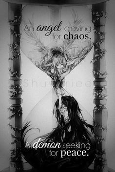 I feel like this is me and my sister. She is the Angel and I am the Demon. Sad Anime Quotes, Manga Quotes, Meaningful Quotes, Inspirational Quotes, Ange Demon, Dark Quotes, Art Anime, Les Sentiments, Angels And Demons
