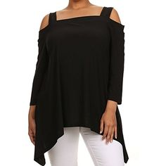 Avital Cold Shoulder Trapeze Top, Black, Small Avital