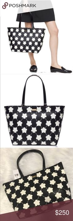 """❤Kate Spade Black & White Floral Tote Kate Spade New York Black & White Floral Tote.  Kate Spade 100% authentic. New with tags. Colors:  black/bone festive floral 11.3""""h x 15.6""""w x 6.2""""d drop length: 9.1"""" MATERIAL saffiano textured grainy vinyl with vachetta split trim capital kate jacquard lining 14-karat light gold plated hardware zip top closure dual interior slide pockets and interior zipper pocket. Gold staple Kate Spade NY signature. 👒 🔺I want your Poshmark experience to be…"""