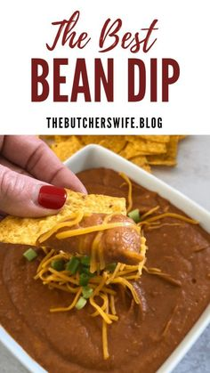 The Best Bean Dip is.the BEST! It is smooth and creamy, has a perfect blend of flavor and is delicious for a game day dip, potluck or any occasion. Mexican Appetizers, Appetizer Dips, Mexican Food Recipes, Appetizer Recipes, Ethnic Recipes, Delicious Appetizers, Mexican Meals, Holiday Appetizers, Clean Eating Snacks