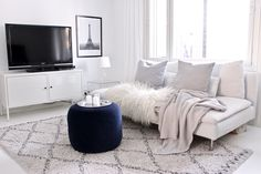A short list of a couple of splurge products to think about investing in for the long run. Living Room On A Budget, Cozy Living Rooms, Living Room Kitchen, Living Room Modern, Living Room Decor, Dream Apartment, Apartment Living, Beautiful Houses Interior, White Houses