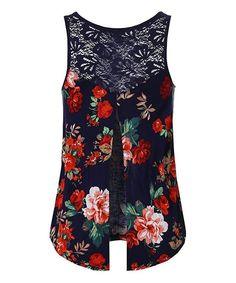 Beat the summer heat in this lightweight, relax-fit tank that features a feminine floral pattern. A zipper lets you adjust the depth of the plunging v-neck.26'' long from high point of shoulder to hemSelf: 100% rayonContrast: 65% cotton / 35% nylonHand wash; hang dryImported