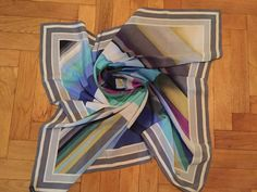 Tino Lauri geometric gray blue yellow shades turquoise silk scarf  #tinolauri