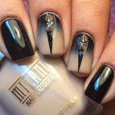 Black Nails With Stud Spikes And How To Do
