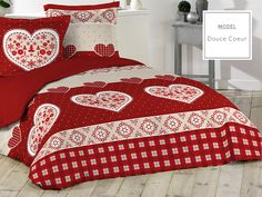 Posteľné obliečky z bavlny červenej farby so srdiečkami
