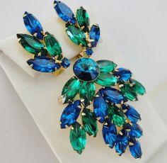 Vintage Large Brooch Earrings Set Blue Green by FoxyEncore on Etsy, $46.00