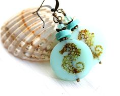 Seahorse earrings Mint Glass Earrings Seafoam by MayaHoneyJewelry